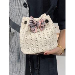 Straw Bow Chain Crossbody Bucket Bag -