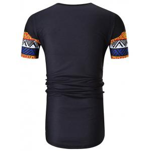 Ethnic Style Hem Curved Casual Longline T-shirt -