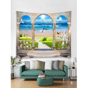Sunshine Beach Dolphin Printed Wall Tapestry Hanging Decoration -