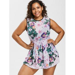 Plus Size Open Back Floral One Piece Swimsuit -