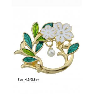 Flower Brooch With Faux Pearl -