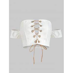 Lace Up Short Sleeve Crop Top -