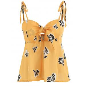 Floral Print Front Knotted Cami Top -