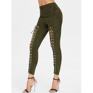 Criss Cross Faux Suede Pants -