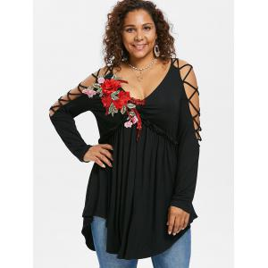 Plus Size Embroidery Lattice Sleeve T-shirt -