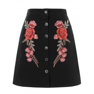 Embroidered Mini A Line Skirt -