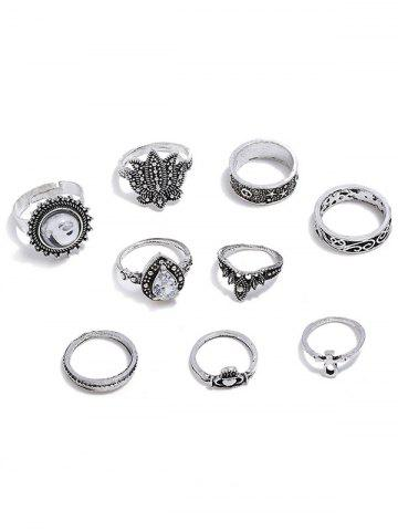 Outfit Faux Gem Flower Decoration Rings Set
