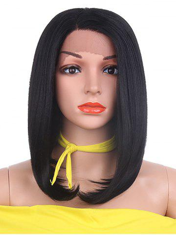 Unique Medium Side Parting Straight Bob Lace Front Synthetic Wig