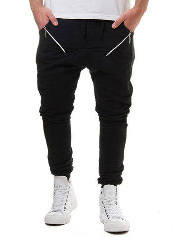 Chic Drawstring Elastic Waist Oblique Zipper Decorated Jogger Pants