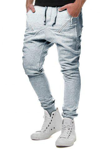 Outfit Drawstring Elastic Waist Oblique Zipper Decorated Jogger Pants
