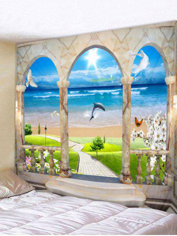 Cheap Sunshine Beach Dolphin Printed Wall Tapestry Hanging Decoration