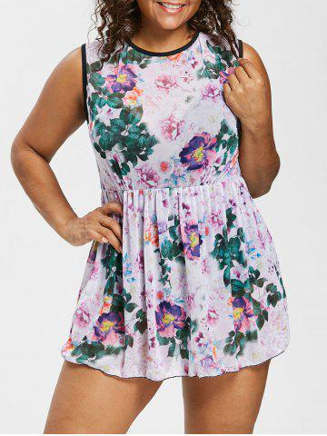Shop Plus Size Open Back Floral One Piece Swimsuit