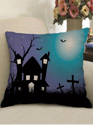 Sale Halloween Castle Bat Crucifix Print Pillowcase