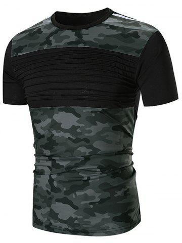 Latest Chest Pleated Camouflage Patchwork Casual T-shirt
