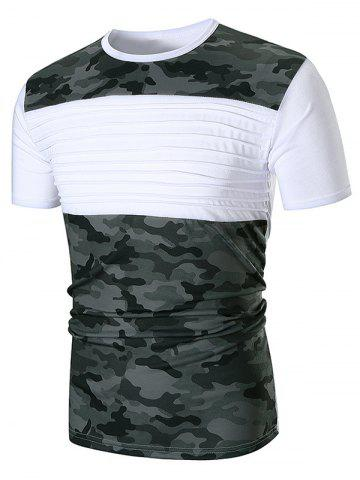 Outfit Chest Pleated Camouflage Patchwork Casual T-shirt