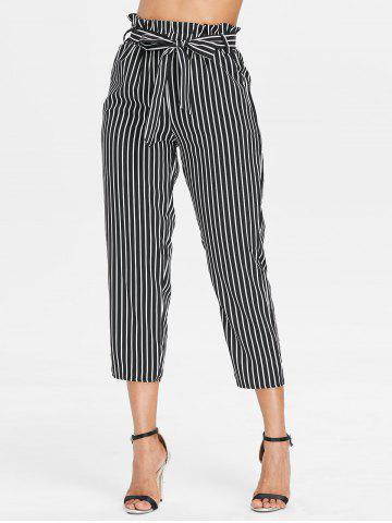 Hot Belted Striped Tapered Pants
