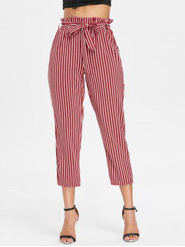 Cheap Belted Striped Tapered Pants