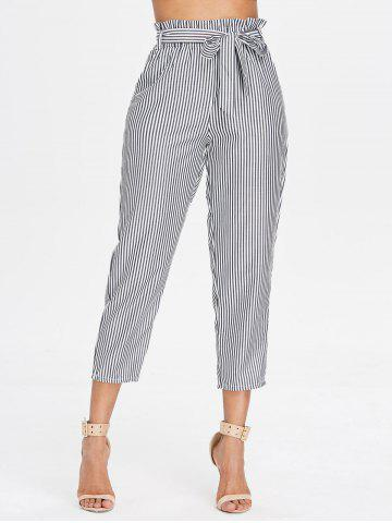 Fashion Belted Striped Tapered Pants