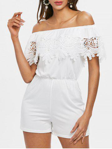 Buy Off The Shoulder Lace Insert Romper