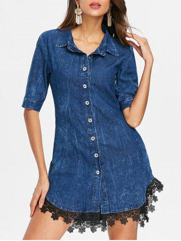 Cheap Button Up Lace Hemline Denim Dress