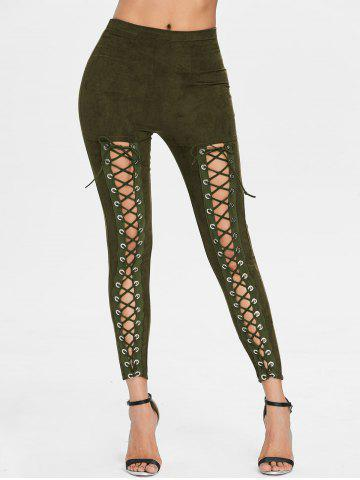 Fancy Criss Cross Faux Suede Pants
