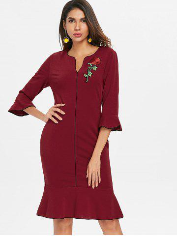 Flare Sleeve Embroidery Bodycon Dress