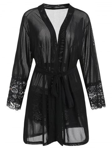Plus Size Lace Panel Sheer Robe - BLACK - 1X