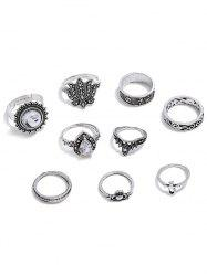 Faux Gem Flower Decoration Rings Set -