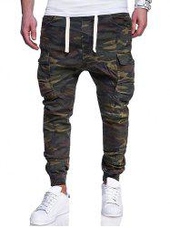 Camo Pattern Seven Pockets Stretchy Waist Jogger Pants -