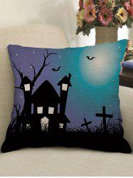 Halloween Castle Bat Crucifix Print Pillowcase -