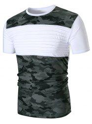 Chest Pleated Camouflage Patchwork Casual T-shirt -