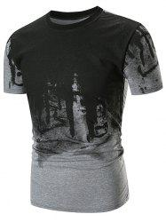 Abstract Ink Painting Printed T-shirt -