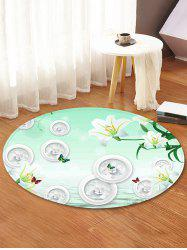 Flowers Pattern Anti-skid Round Floor Rug -
