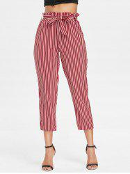 Belted Striped Tapered Pants -