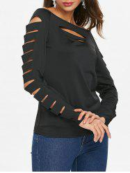 Boat Neck Cut Out Sleeve Plain T-shirt -