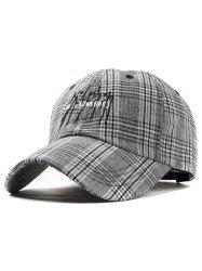 Vintage Letter Embroidery Plaid Baseball Hat -
