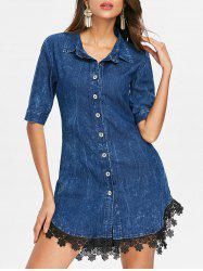 Button Up Lace Hemline Denim Dress -