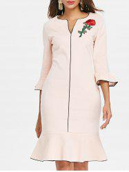 Flare Sleeve Embroidery Bodycon Dress -
