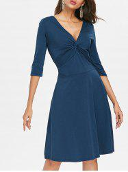 V Neck Knot A Line Dress -