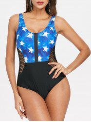 Stars Print Fishnet Panel One Piece Swimwear -
