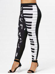 Plus Size Notes Print Skinny Leggings -