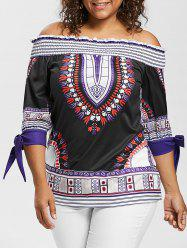 Plus Size Off The Shoulder Printed Blouse With Tie -