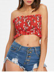 Floral Print Shirred Crop Top -