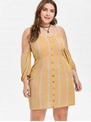 Plus Size Cold Shoulder Short Dress -