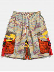 Contrast Camouflage Patch Pockets Cargo Shorts -