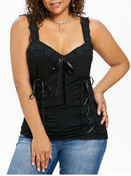 Plus Size Lace Up Appliqued Tank Top -