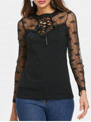 Lace Panel Criss Cross Full Sleeve T-shirt -