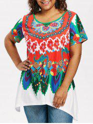 Plus Size Ethnic Pattern T-shirt -