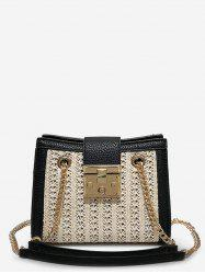 Hasp Panel Straw Chain Shoulder Bag -