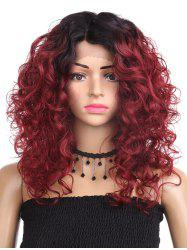 Medium Side Parting Colormix Curly Synthetic Lace Front Wig -
